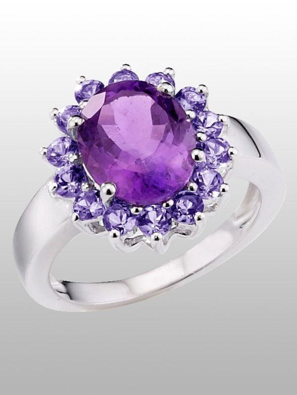 серебряные кольца с аметистом  цена